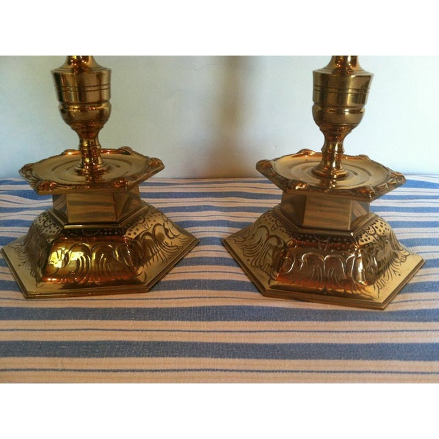 Ystad Metall Swedish Brass Candleholders - A Pair For Sale - Image 5 of 7