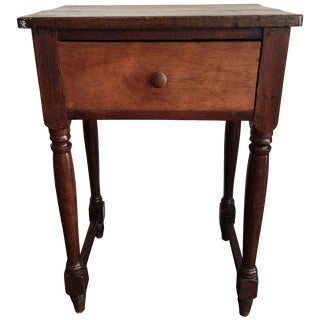 Antique Rustic Drop Leaf Work Table For Sale