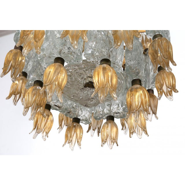 Murano glass chandelier by barovier & toso 50s