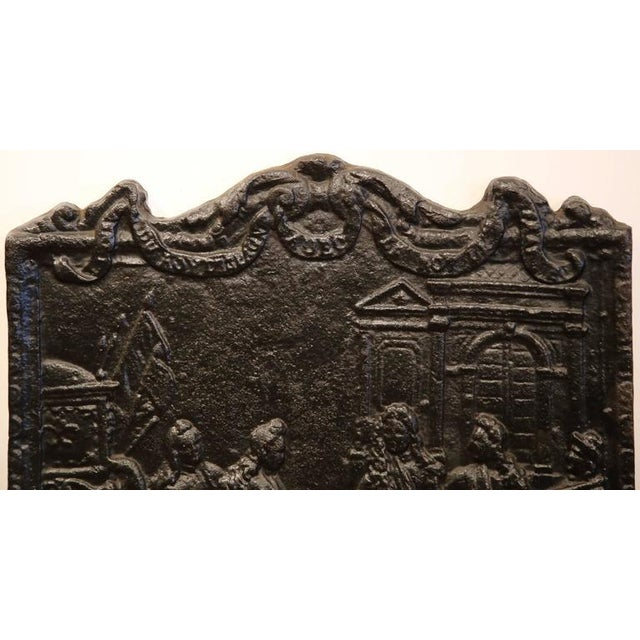 French 18th Century French Louis XVI Black Iron Fireback Depicting King For Sale - Image 3 of 7