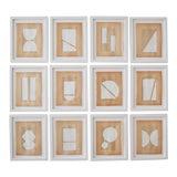 Image of Josh Young Design House Blanc Géométrique Collection Paintings, 12 Pieces For Sale