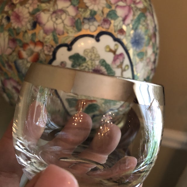 1970s 1970s Vintage Collection of Dorothy Thorpe Glasses Silver Rim- Set of 6 For Sale - Image 5 of 9