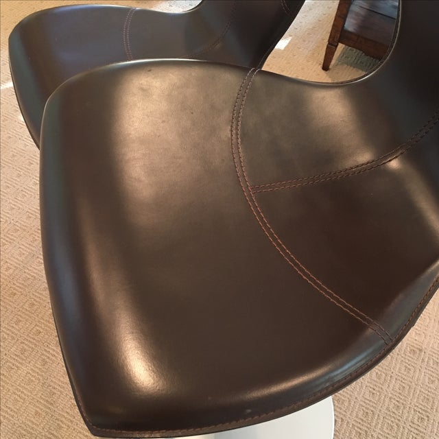 Brown Leather Adjustable Stools - a Pair - Image 11 of 11