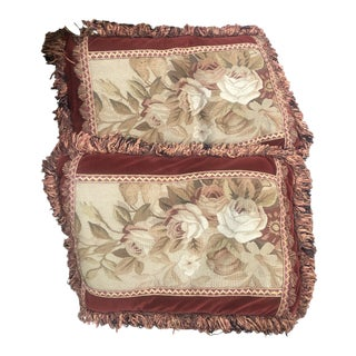 Antique French Aubusson Floral Fringed Rectangular Pillows - a Pair For Sale