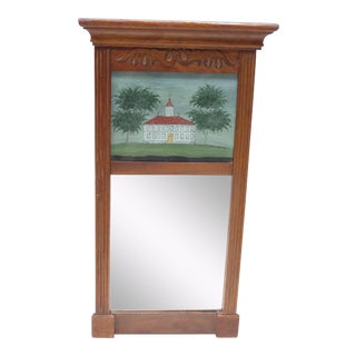 19th Century Early American Wall Mirror with Eglomise Panel For Sale
