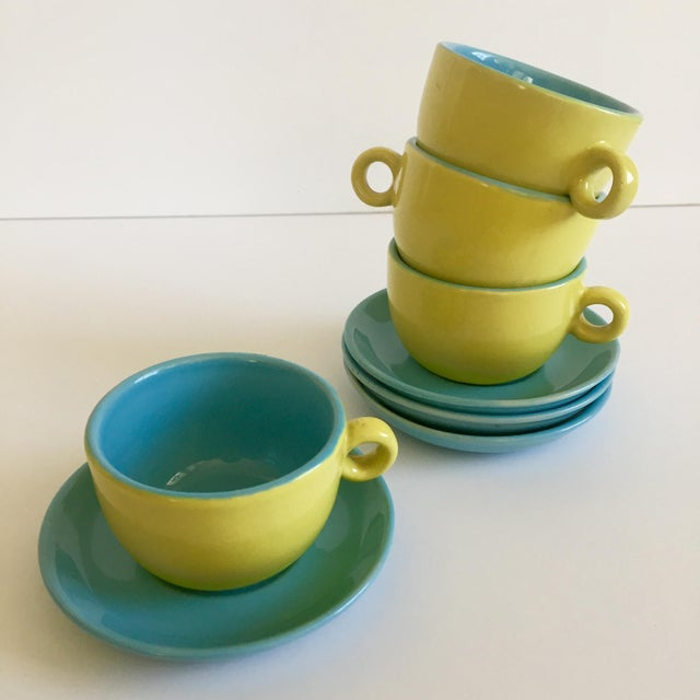 Retro Cappuccino Cups & Saucers - Set of 8 - Image 2 of 5