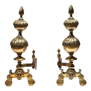 Antique Continental Baroque Lion Face Brass Andirons - a Pair For Sale