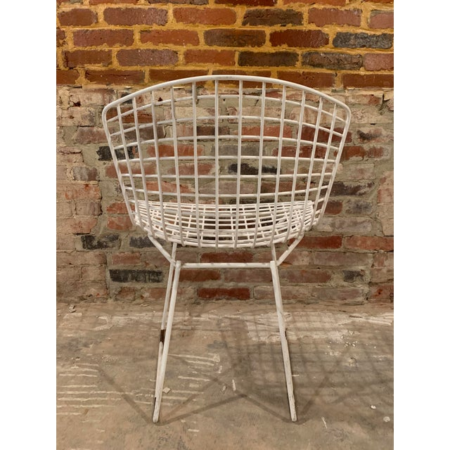 Metal Vintage Mid Century Knoll Bertoia White Side Chairs - Set of 4 For Sale - Image 7 of 13
