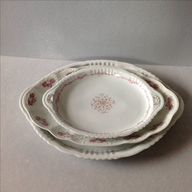 Austrian White & Pink Rose Platters - Set of 3 - Image 2 of 11