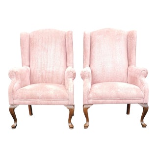 Vintage Blush Pink Velvet Armchairs - a Pair For Sale