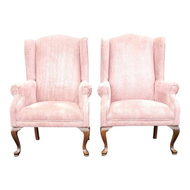 Vintage Blush Pink Velvet Armchairs - a Pair For Sale