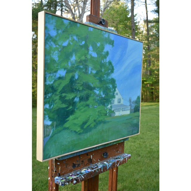 """Canvas Stephen Remick """"House Behind the Tree by the Road"""" Contemporary Painting For Sale - Image 7 of 10"""