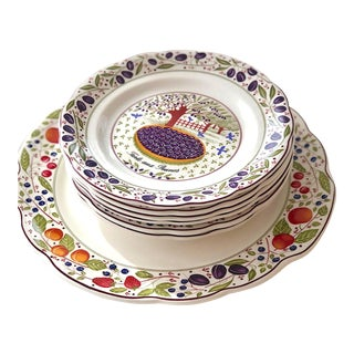 Gien Cake Plate With Serving Plates in Original Box - 7 Pc. Set For Sale