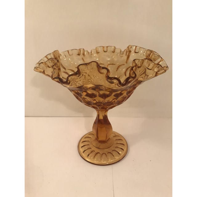 Fenton Art Glass Company Vintage Fenton Amber Glass Compote For Sale - Image 4 of 5