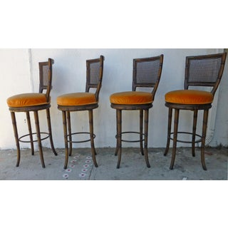 1970s Vintage Faux Bamboo Walnut Bar Stools – Set of 4 Preview