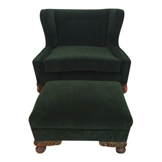 Deco Style Emerald Green Velvet & Ottoman - Image 1 of 6