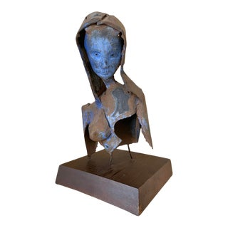 Vintage Abstract Steel Sculpture Bust For Sale