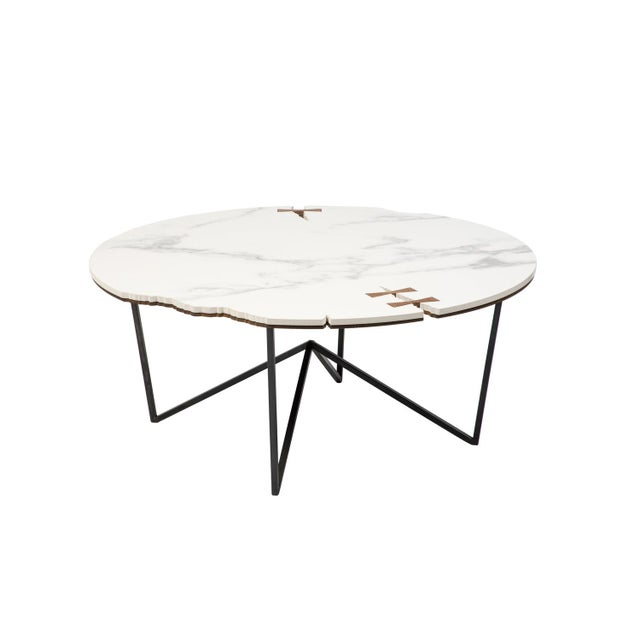 Contemporary Stone Forest Circle Coffee Table For Sale - Image 3 of 3