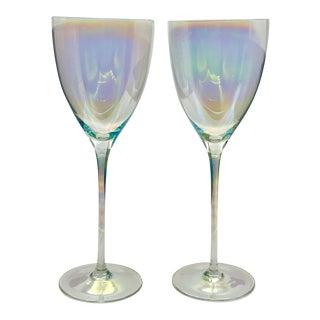 Vintage 1950s Tall Iridescent Crystal Champagne Glasses - a Pair For Sale