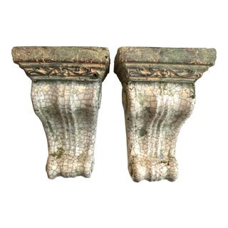 Ceramic Wall Brackets/Bookends, Pair For Sale