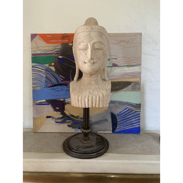 Mid 20th Century Calming Tibetan Stone Bust on Bronze Stand For Sale - Image 10 of 10