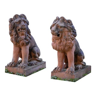17th Century French Terra Cotta Lions - a Pair For Sale