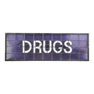 "Original Stained Glass Sign ""Drugs"" by James Moore For Sale"