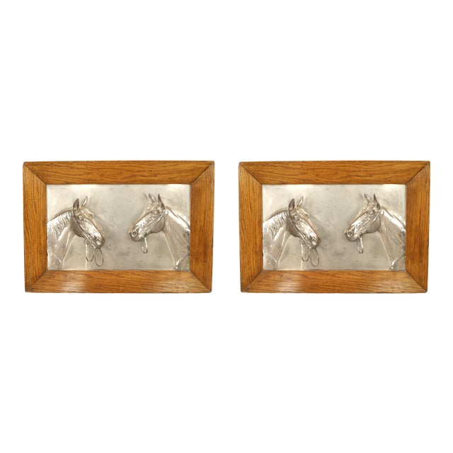 English Victorian Country Silver Horse Wall Plaques For Sale