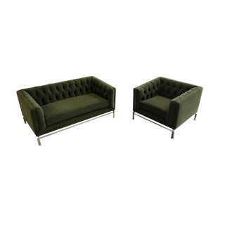Midcentury Knoll-Style Tufted Settee & Club Chair Set For Sale