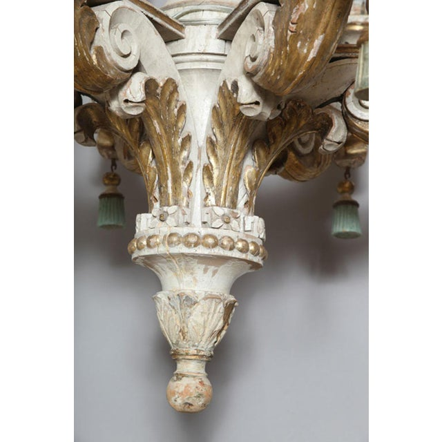 Polychromed & Parcel Gilt 18th/19th Century Wooden Chandelier For Sale - Image 4 of 9