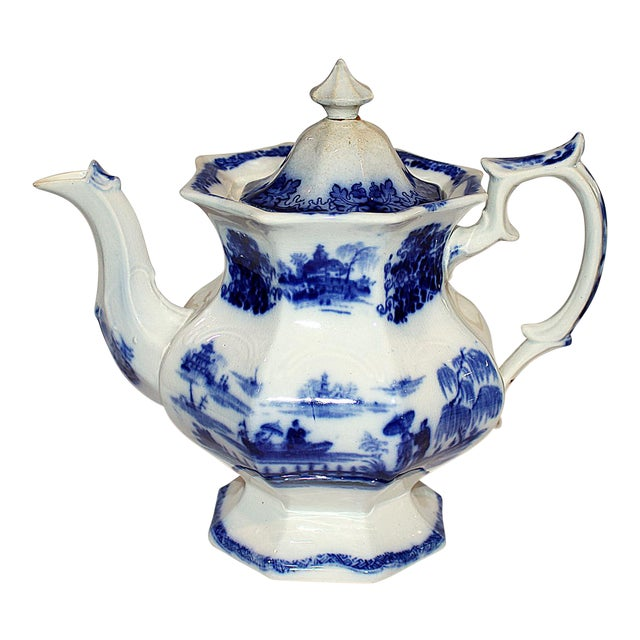 English Staffordshire Flow-Blue Teapot For Sale