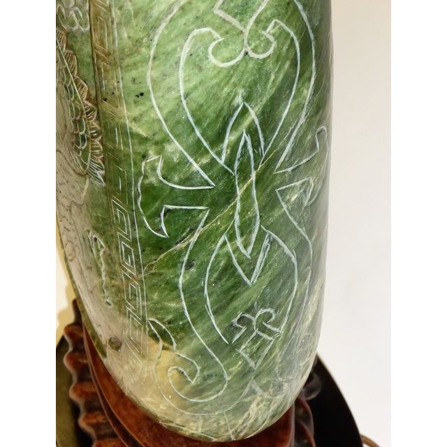 Large Table Lamp Exquisitely Carved Asian Soapstone Vessel . 1940s - Image 8 of 11