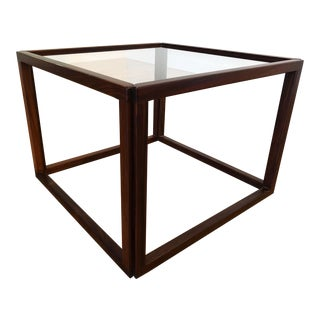 Kai Kristensen Rosewood & Glass Cube Table For Sale