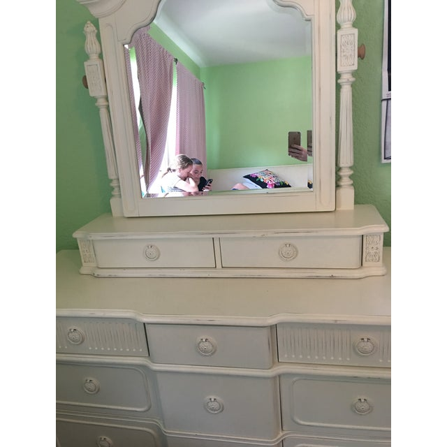 """Selling our white, distressed Thomasville dresser and tilting mirror fro their """"Emilia Youth"""" line. It's in great..."""
