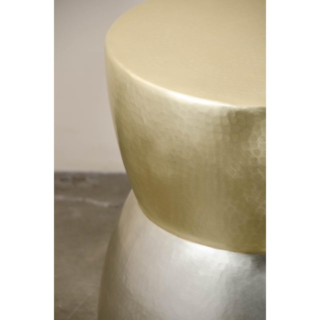 Contemporary Brass and White Bronze Low Empire Hand Repouss Drumstool by Robert Kuo, Limited Edition For Sale - Image 3 of 5