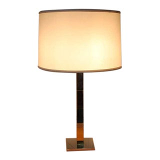 Mid-Century Modern Chrome and Brass Table Lamp by Hansen For Sale