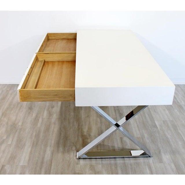 Metal 1960s Milo Baughman Mid-Century Modern Campaign White Lacquer Chrome X Base Desk For Sale - Image 7 of 12