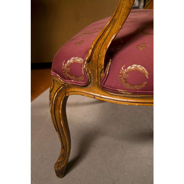 Textile French Louis XV Style Walnut Fauteuils - A Pair For Sale - Image 7 of 9