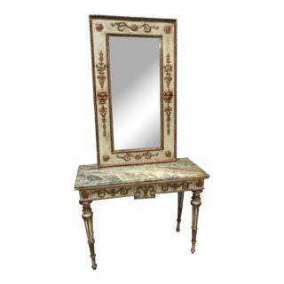 Italian Louis XVI Style Painted Gilt Console & Mirror