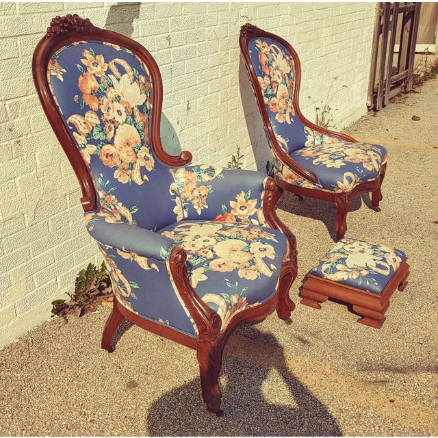 Victorian Lady's slipper chairs with mahogany frame. Finger molding, leaf-and-fruit carved crest rail that curves downward...