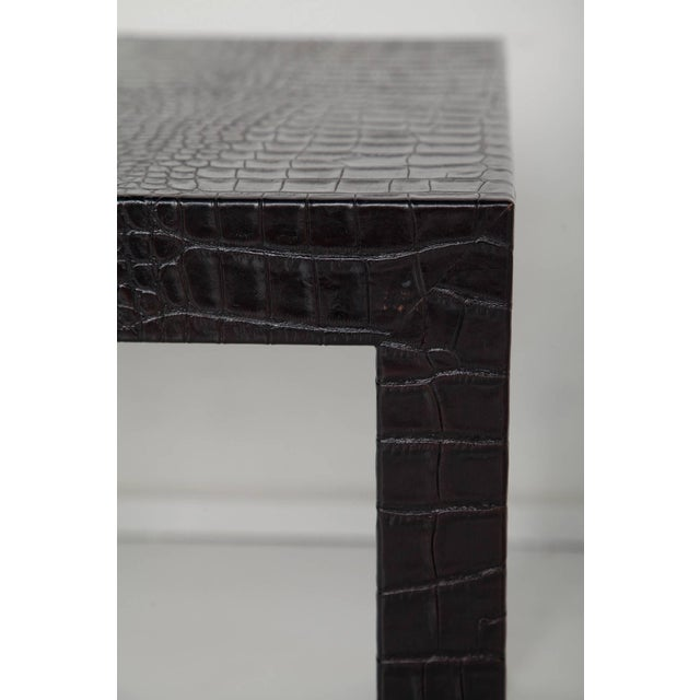Black Black Alligator Embossed Leather End Tables - a Pair For Sale - Image 8 of 11