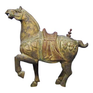 Late 20th Century Chinese Polychrome Tang-Style Wooden Horse For Sale