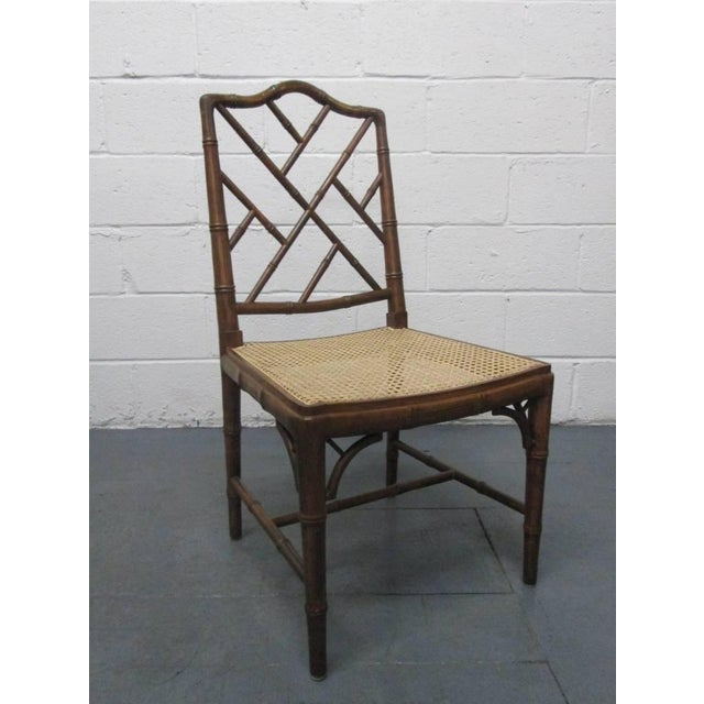 1960s 4 Faux Bamboo Chinese Chippendale Style Chairs For Sale - Image 5 of 8