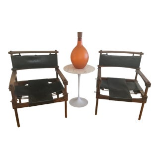 Don Shoemaker Mid-Century Modern Perno Safari Wood & Leather Chairs - a Pair For Sale