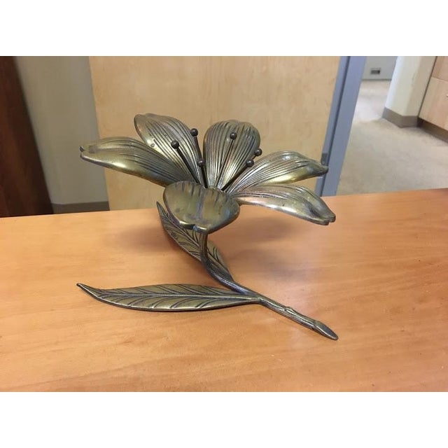 Metal Vintage Reversible Brass Flower Ashtray For Sale - Image 7 of 8