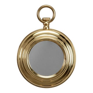 French Small Brass Mirror In the Shape Of A Pocket Watch