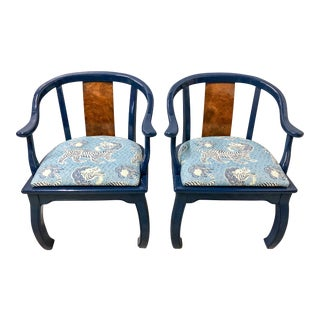 Burl & Lacquer Asian Style Arm Chairs - A Pair