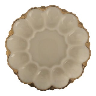 Vintage 1950's Anchor Hocking White Milk Glass Egg Plate With Gold Trim For Sale