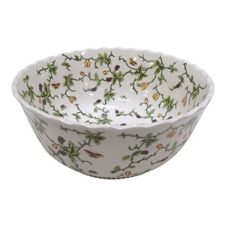 Vintage Porcelain Floral Butterfly Bowl For Sale