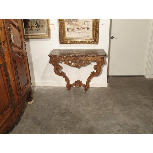 Early 18th Century Oak Regence Console With Rouge Marble Top For Sale In Dallas - Image 6 of 13